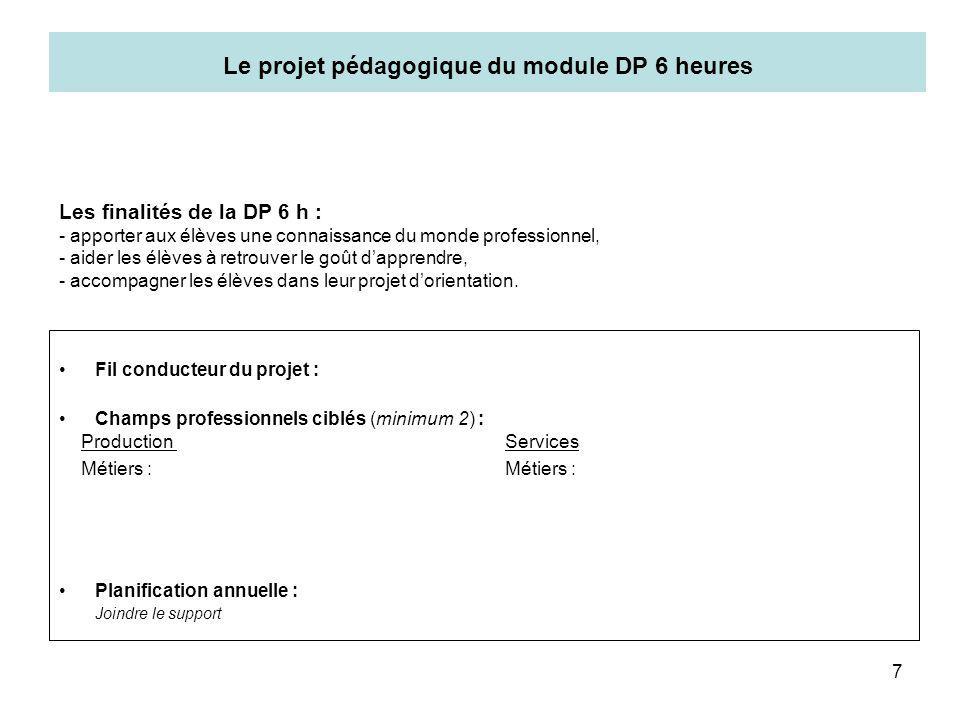 7 Le projet pédagogique du module DP 6 heures Fil conducteur du projet : Champs professionnels ciblés (minimum 2) : Planification annuelle : Joindre l