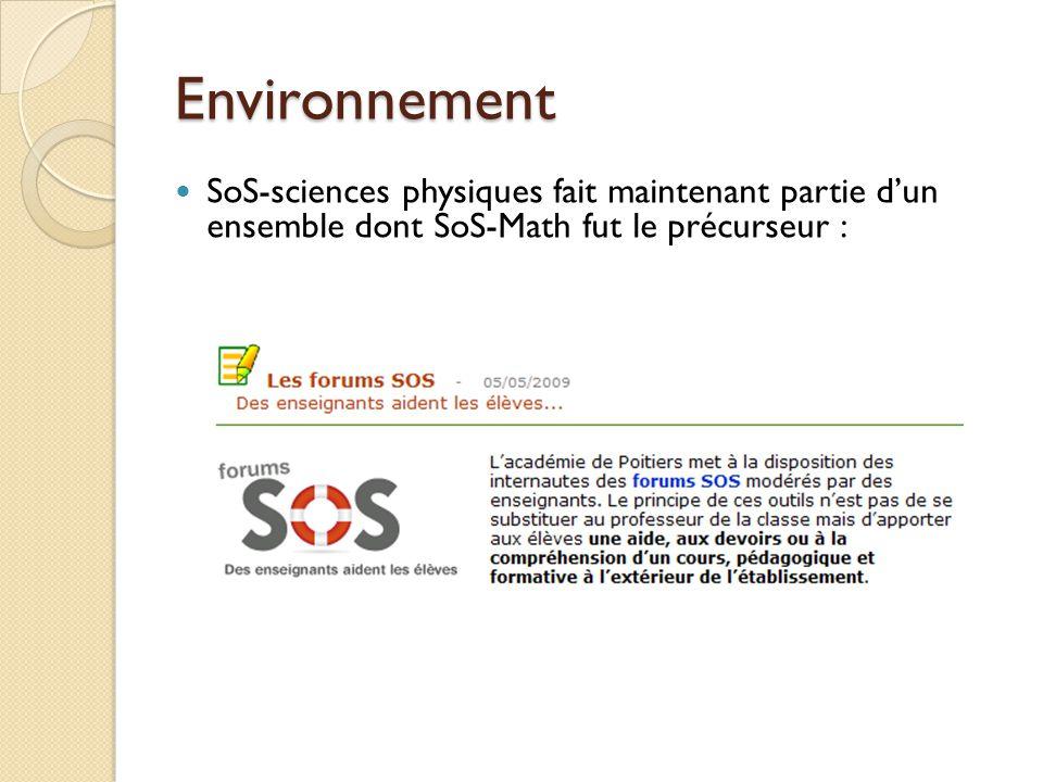 Environnement SoS-sciences physiques fait maintenant partie dun ensemble dont SoS-Math fut le précurseur :