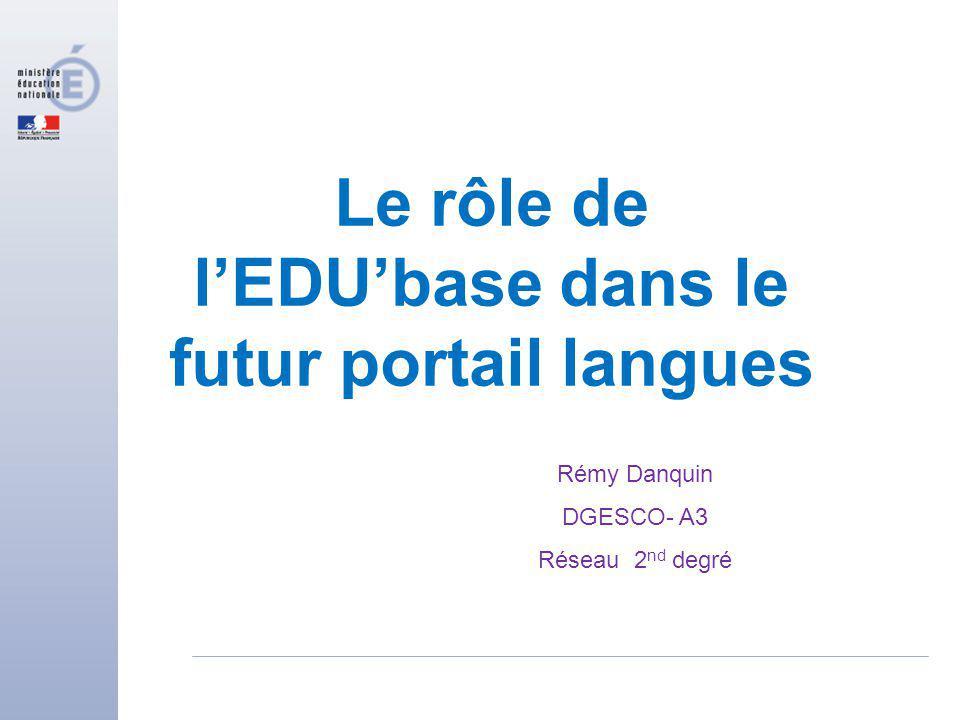 Le rôle de lEDUbase dans le futur portail langues Rémy Danquin DGESCO- A3 Réseau 2 nd degré