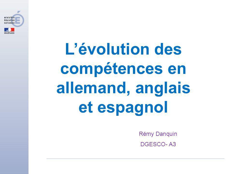 Lévolution des compétences en allemand, anglais et espagnol Rémy Danquin DGESCO- A3