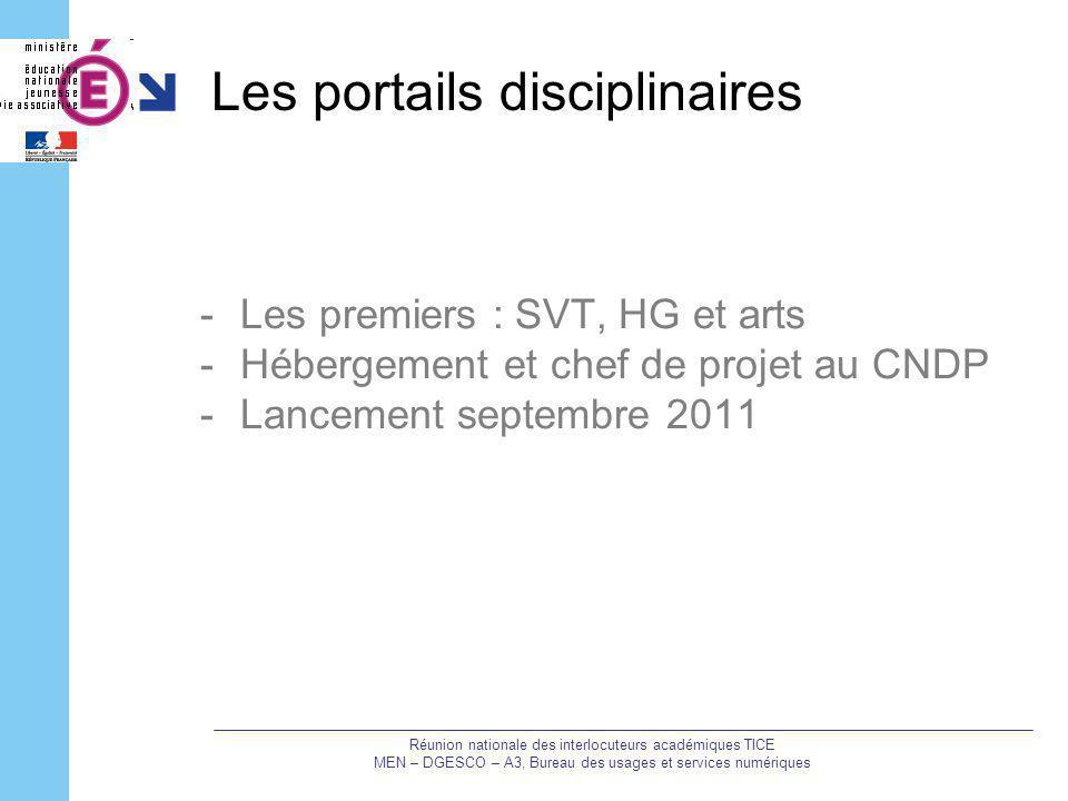 Les portails disciplinaires -Les premiers : SVT, HG et arts -Hébergement et chef de projet au CNDP -Lancement septembre 2011 Réunion nationale des int