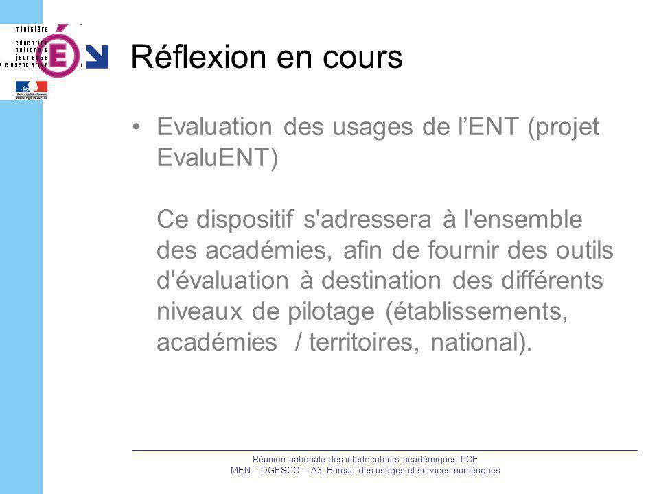 Réflexion en cours Evaluation des usages de lENT (projet EvaluENT) Ce dispositif s'adressera à l'ensemble des académies, afin de fournir des outils d'