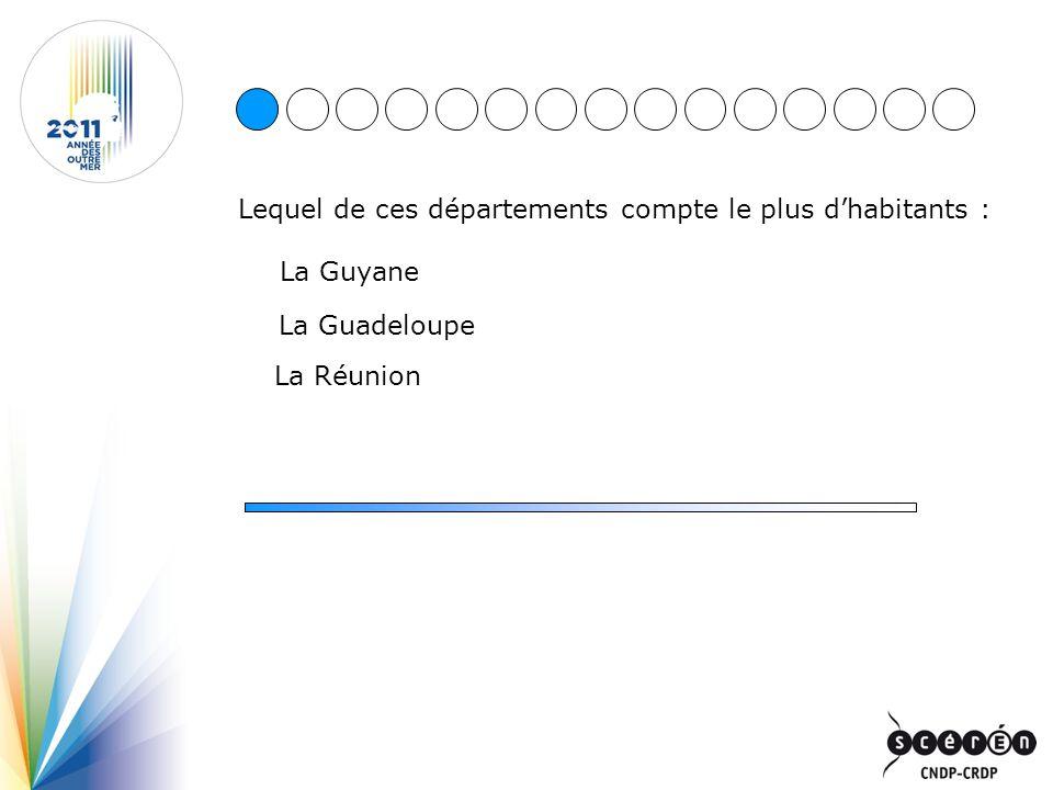 Lequel de ces départements compte le plus dhabitants : La Guyane La Guadeloupe La Réunion