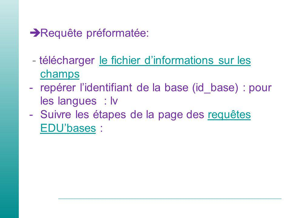 Requête préformatée: - télécharger le fichier dinformations sur les champsle fichier dinformations sur les champs -repérer lidentifiant de la base (id_base) : pour les langues : lv -Suivre les étapes de la page des requêtes EDUbases :requêtes EDUbases