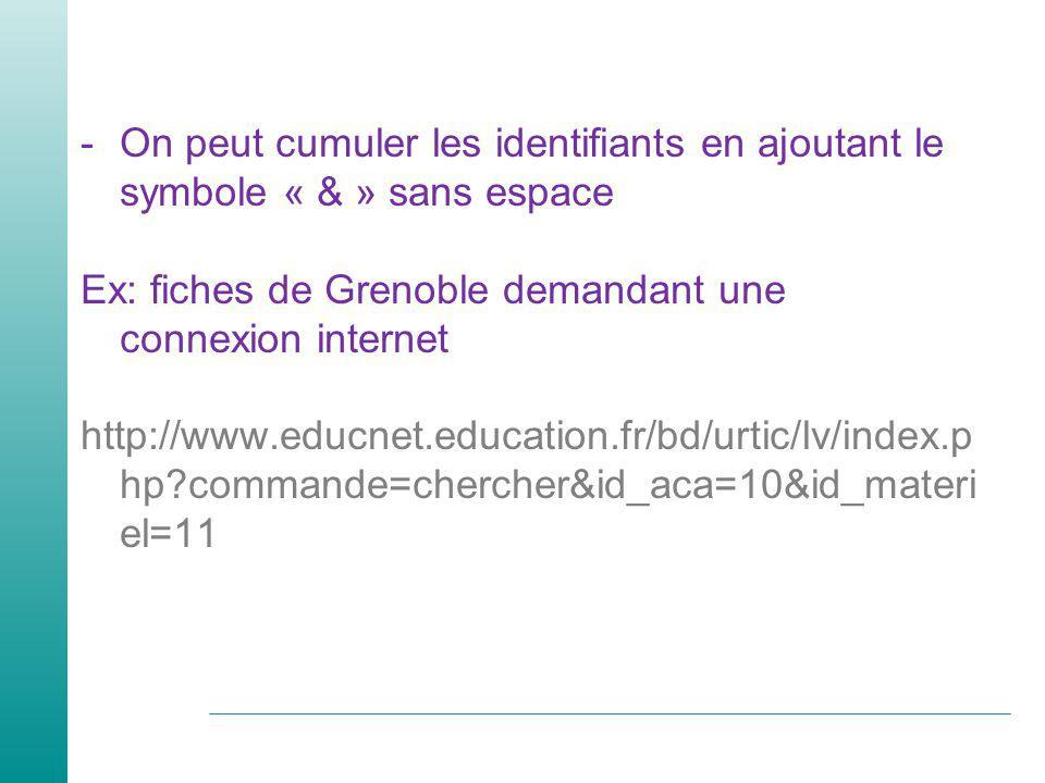 -On peut cumuler les identifiants en ajoutant le symbole « & » sans espace Ex: fiches de Grenoble demandant une connexion internet http://www.educnet.