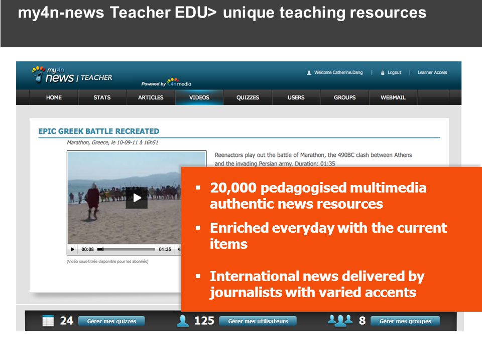 20,000 pedagogised multimedia authentic news resources Enriched everyday with the current items International news delivered by journalists with varied accents 20,000 pedagogised multimedia authentic news resources Enriched everyday with the current items International news delivered by journalists with varied accents my4n-news Teacher EDU> unique teaching resources