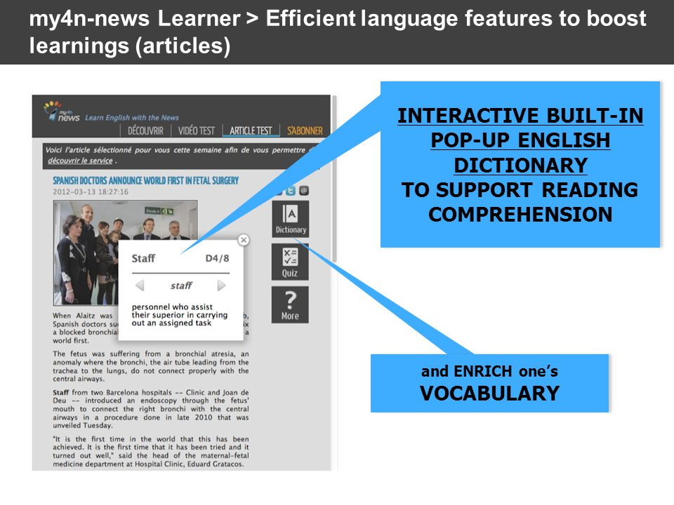 mobile version display VIDEOS AND AUDIOS ARE SUBTITLED TO SUPPORT LISTENING COMPREHENSION VIDEOS AND AUDIOS ARE SUBTITLED TO SUPPORT LISTENING COMPREHENSION my4n-news Learner > Efficient language features to boost learnings (videos and audios)