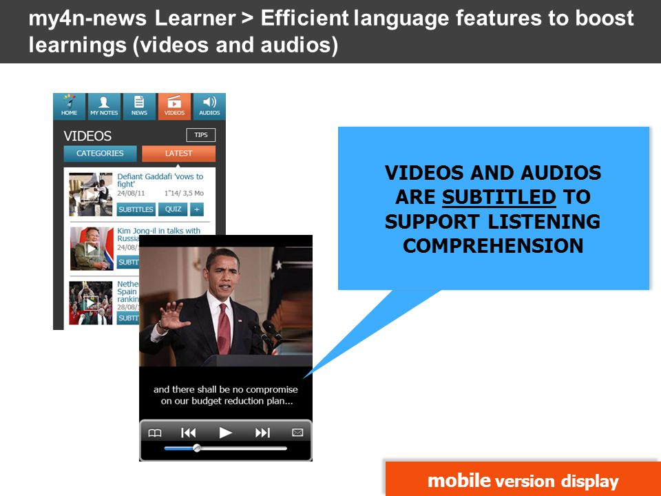 mobile version display VIDEOS AND AUDIOS ARE SUBTITLED TO SUPPORT LISTENING COMPREHENSION VIDEOS AND AUDIOS ARE SUBTITLED TO SUPPORT LISTENING COMPREH