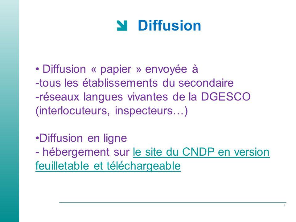 5 Diffusion Diffusion « papier » envoyée à -tous les établissements du secondaire -réseaux langues vivantes de la DGESCO (interlocuteurs, inspecteurs…) Diffusion en ligne - hébergement sur le site du CNDP en version feuilletable et téléchargeablele site du CNDP en version feuilletable et téléchargeable