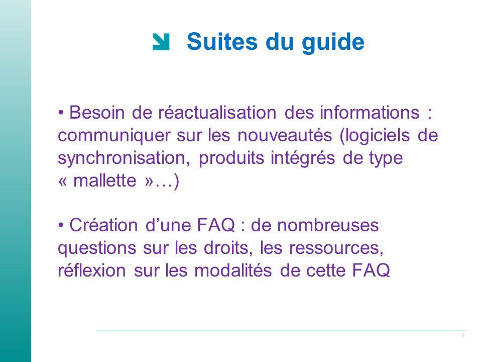 6 Suites du guide Besoin de réactualisation des informations : communiquer sur les nouveautés (logiciels de synchronisation, produits intégrés de type « mallette »…) Création dune FAQ : de nombreuses questions sur les droits, les ressources, réflexion sur les modalités de cette FAQ