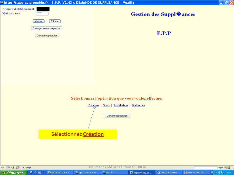 Sélectionnez Création Document créé par Laurence BURLAT
