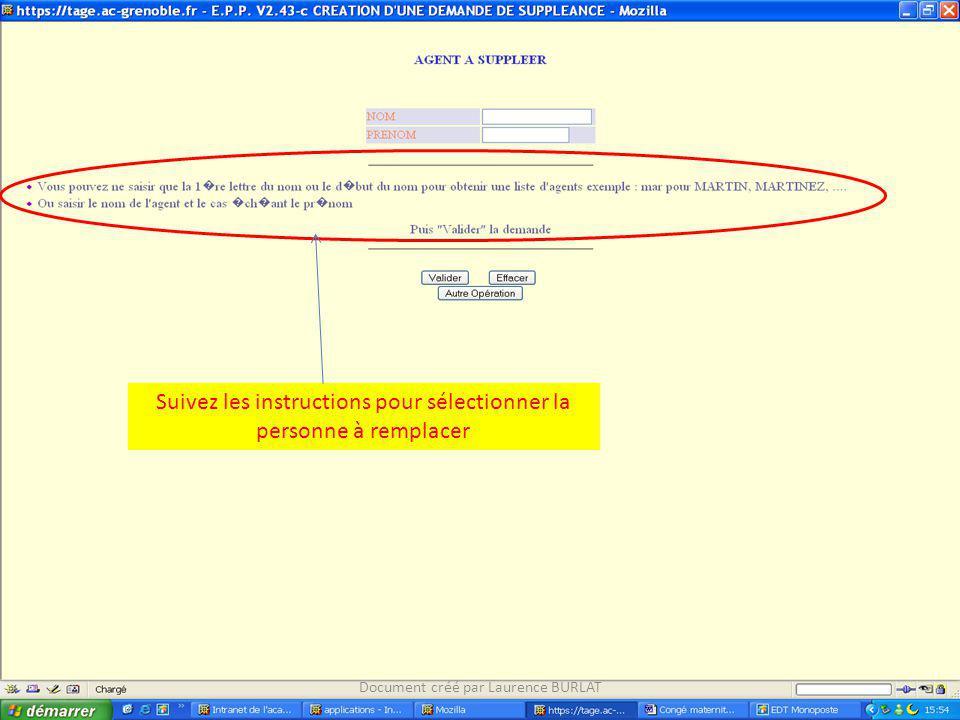 Suivez les instructions pour sélectionner la personne à remplacer Document créé par Laurence BURLAT