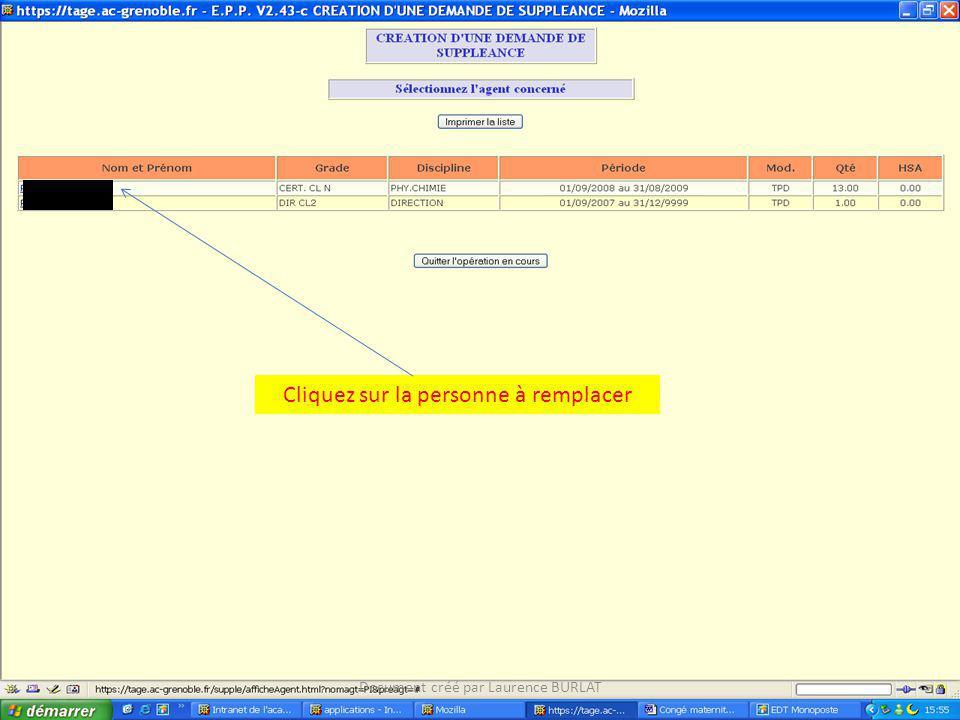 Cliquez sur la personne à remplacer Document créé par Laurence BURLAT