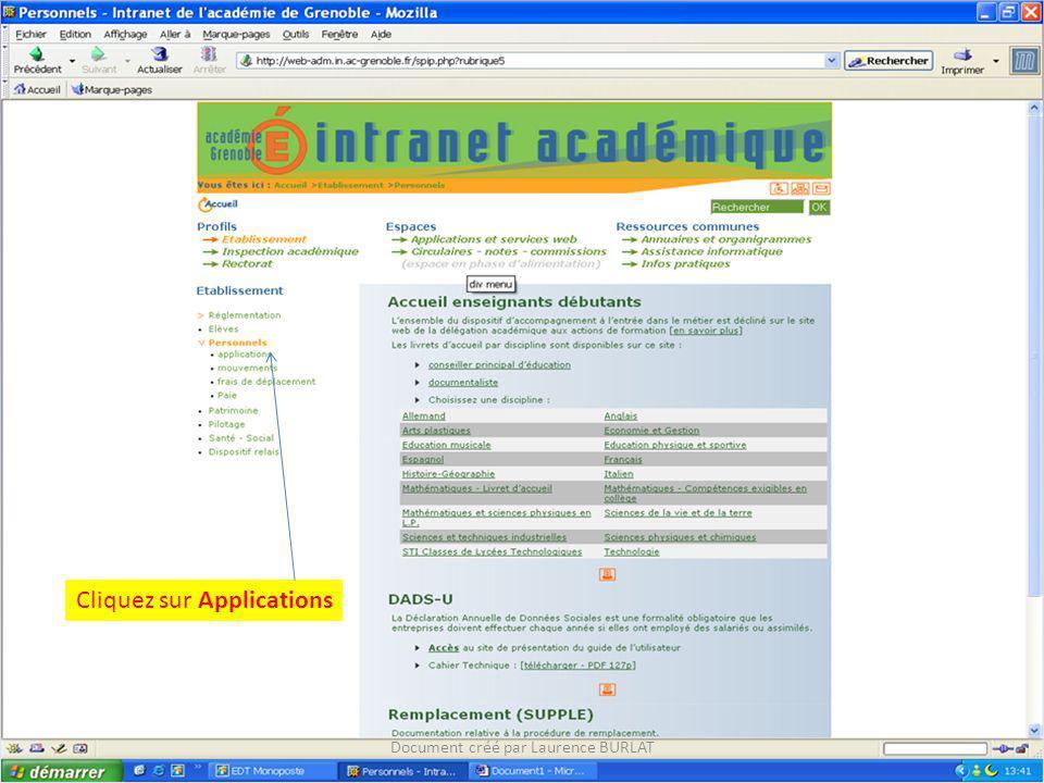 Cliquez sur Applications Document créé par Laurence BURLAT
