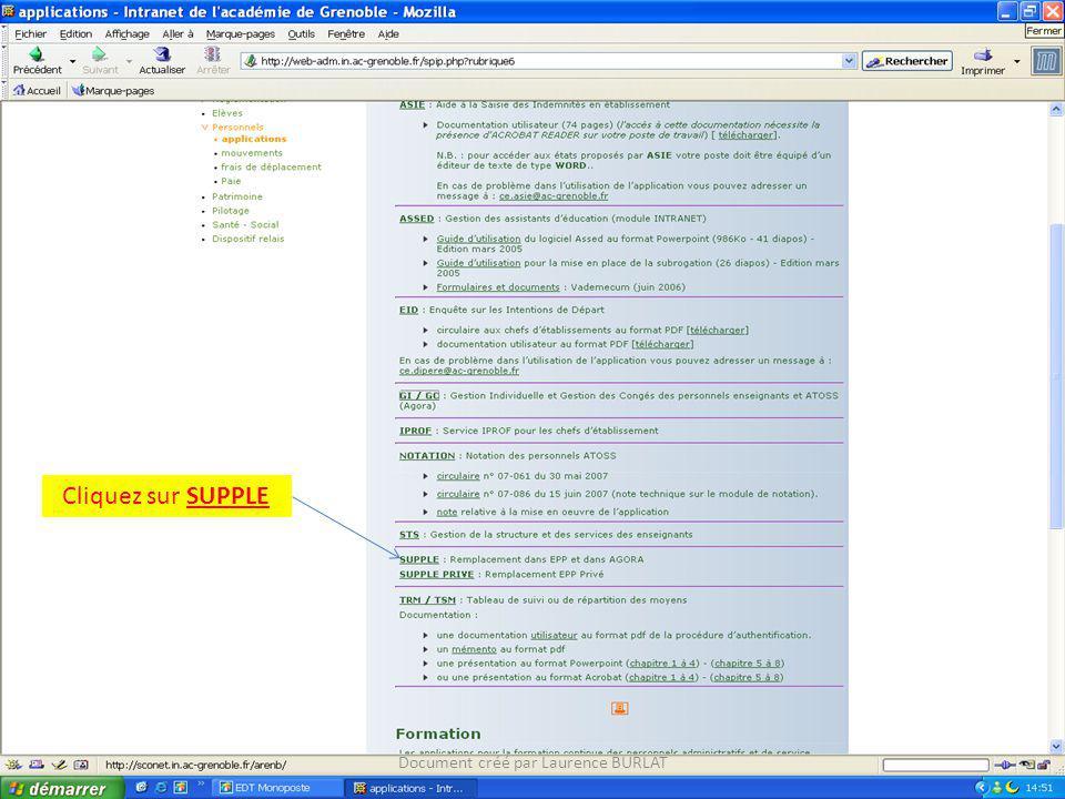 Cliquez sur SUPPLE Document créé par Laurence BURLAT