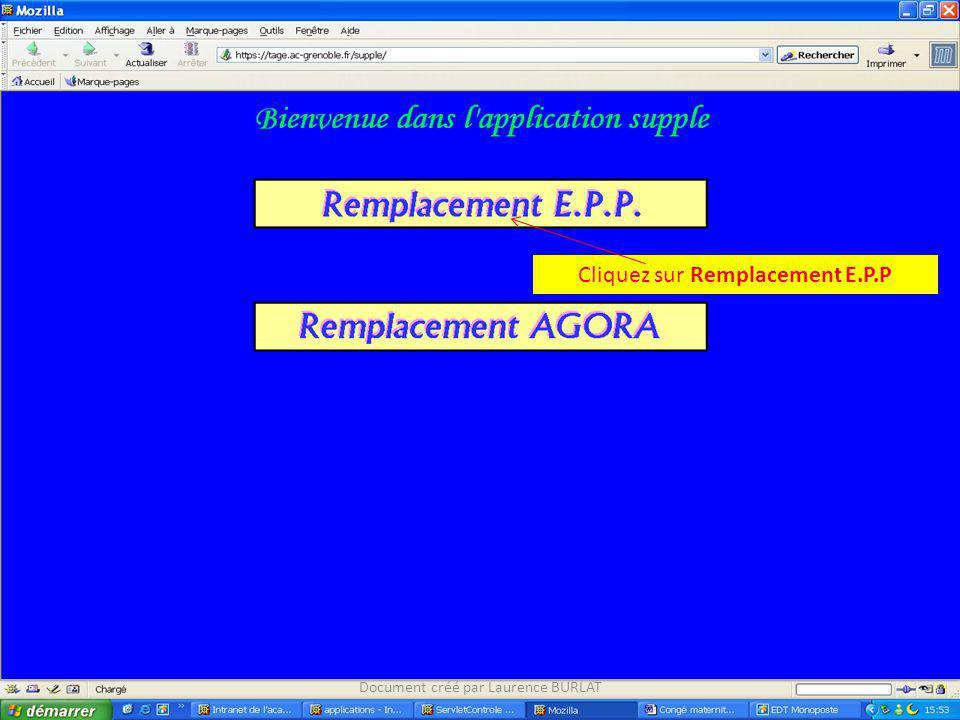 Cliquez sur Remplacement E.P.P Document créé par Laurence BURLAT