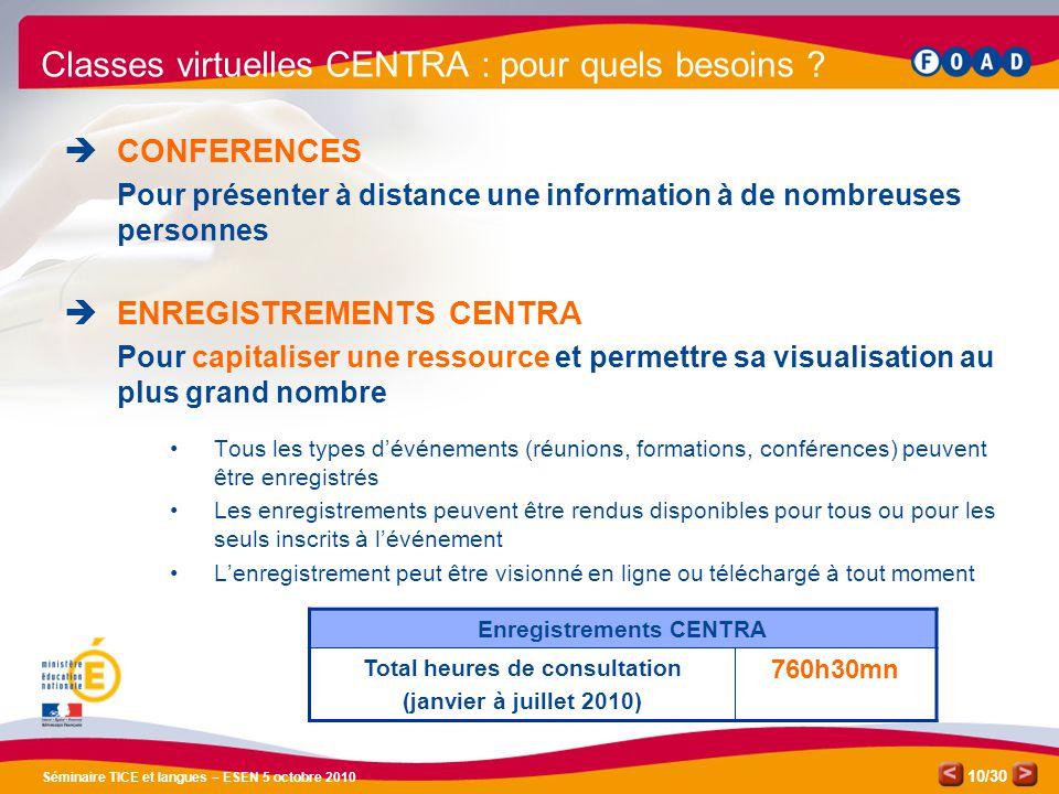 /30 Séminaire TICE et langues – ESEN 5 octobre 2010 10 Classes virtuelles CENTRA : pour quels besoins .