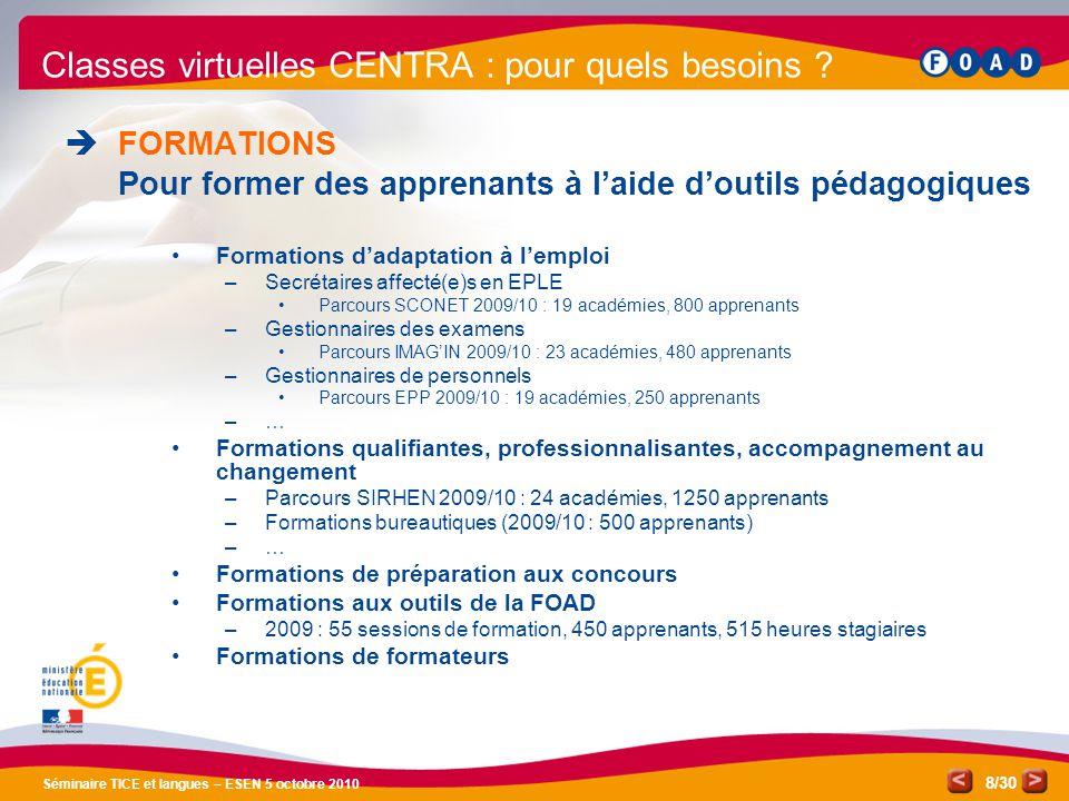 /30 Séminaire TICE et langues – ESEN 5 octobre 2010 8 Classes virtuelles CENTRA : pour quels besoins .