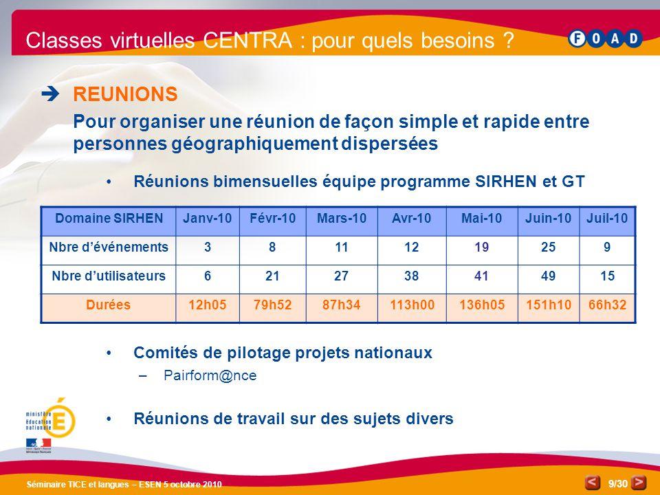 /30 Séminaire TICE et langues – ESEN 5 octobre 2010 9 Classes virtuelles CENTRA : pour quels besoins .