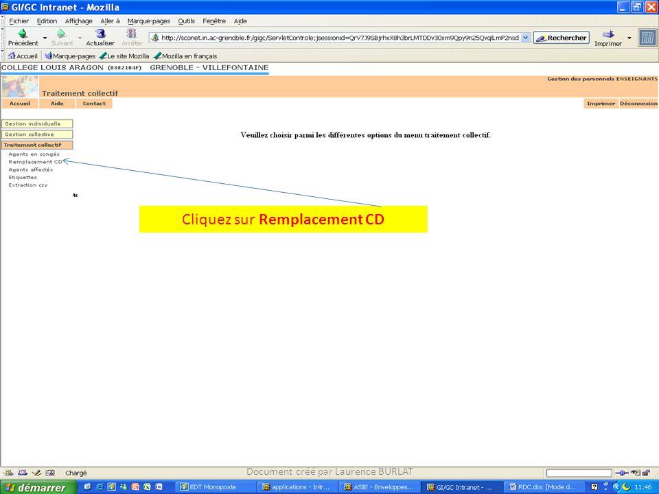 Cliquez sur Remplacement CD Document créé par Laurence BURLAT