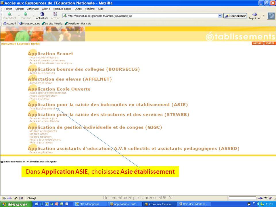 Dans Application ASIE, choisissez Asie établissement Document créé par Laurence BURLAT