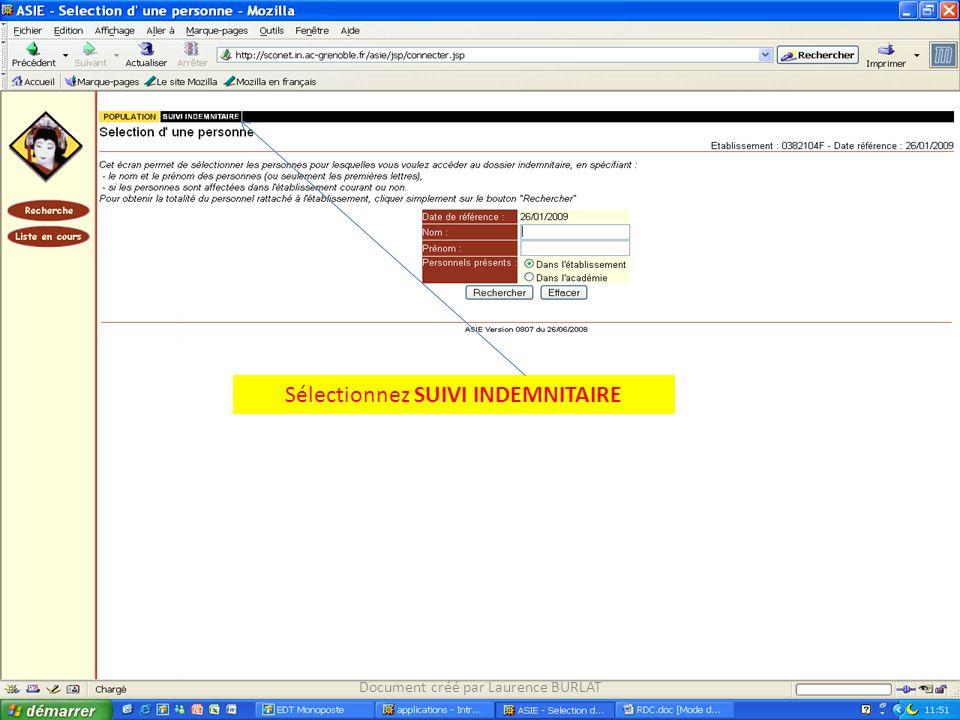 Sélectionnez SUIVI INDEMNITAIRE Document créé par Laurence BURLAT