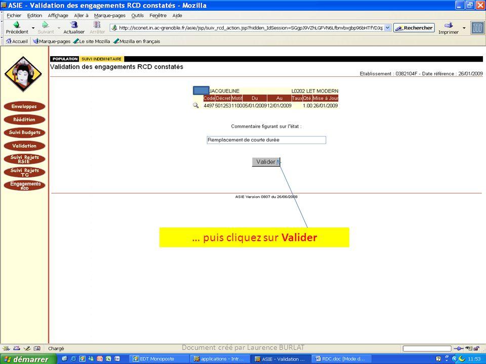 … puis cliquez sur Valider Document créé par Laurence BURLAT