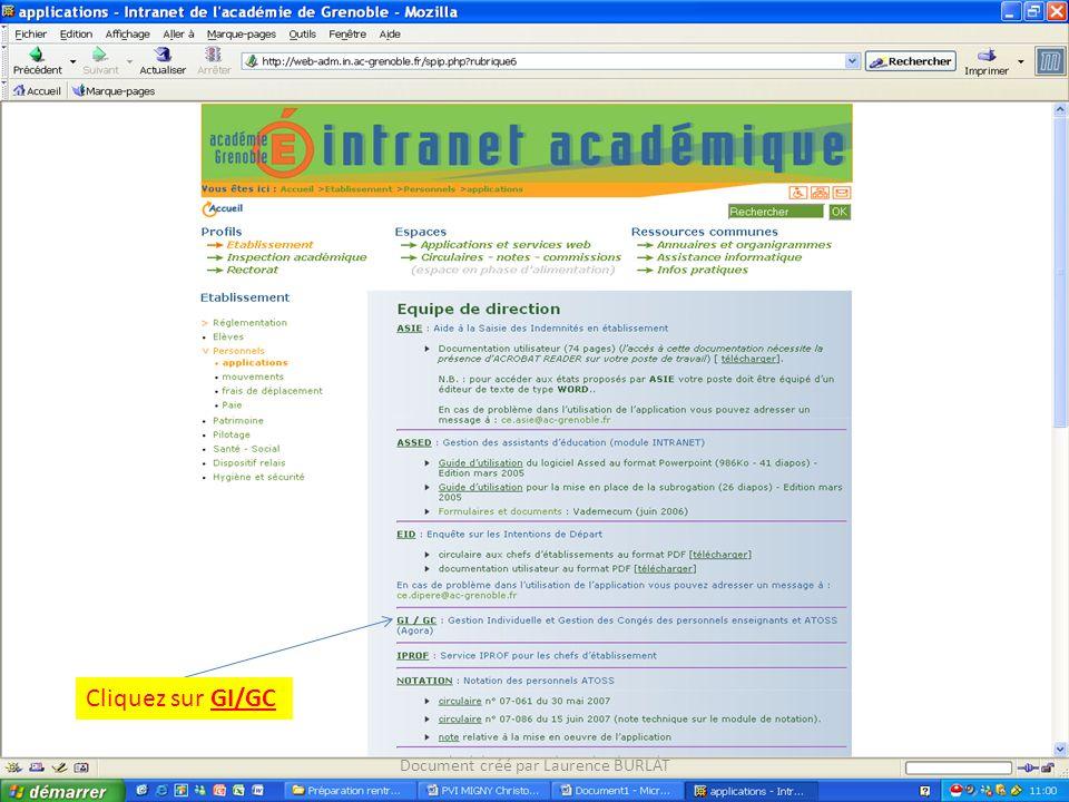 Cliquez sur GI/GC Document créé par Laurence BURLAT