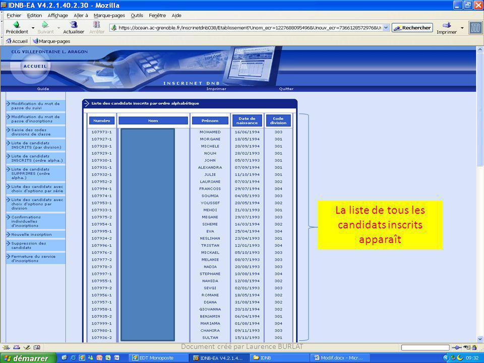 La liste de tous les candidats inscrits apparaît Document créé par Laurence BURLAT