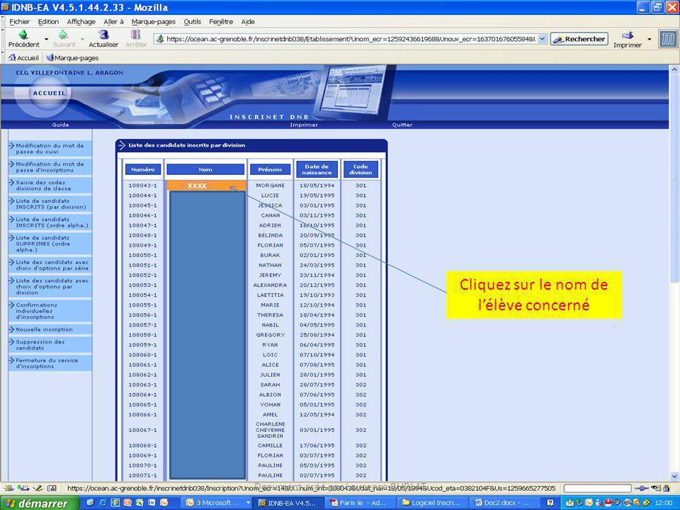 Cliquez sur le nom de lélève concerné xxxx Document créé par Laurence BURLAT
