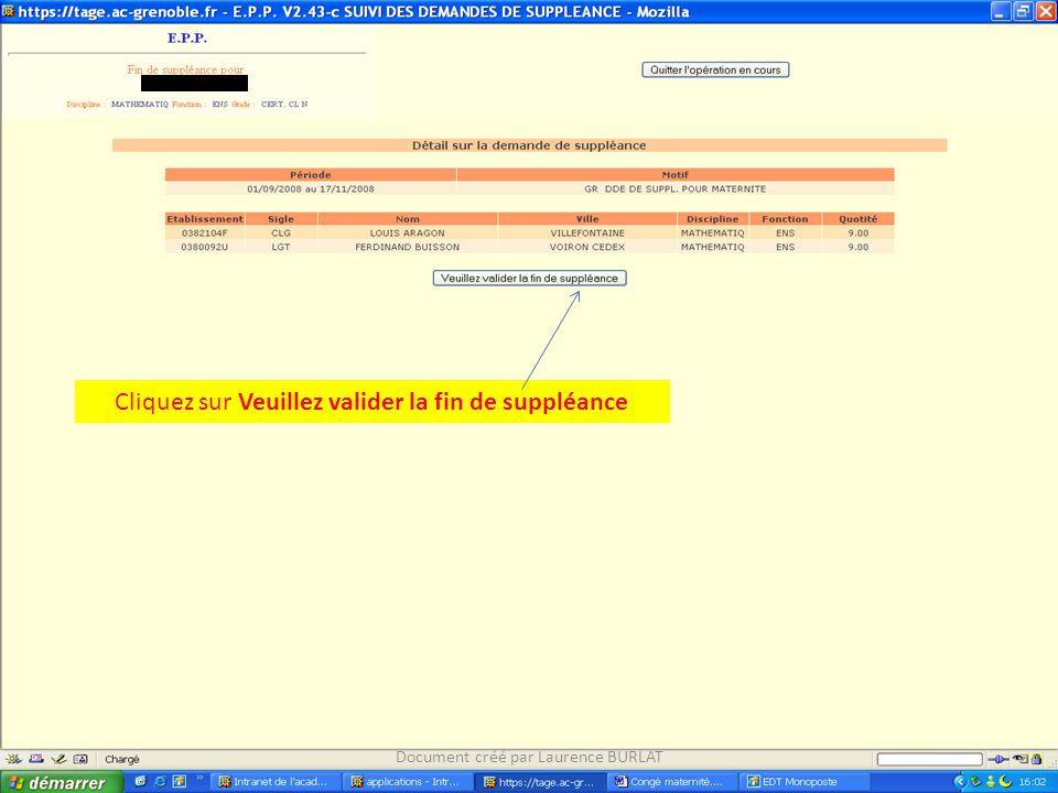 Cliquez sur Veuillez valider la fin de suppléance Document créé par Laurence BURLAT