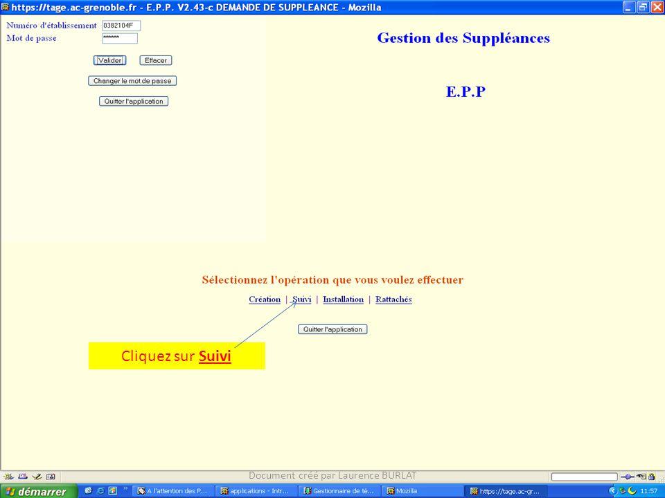 Cliquez sur Suivi Document créé par Laurence BURLAT