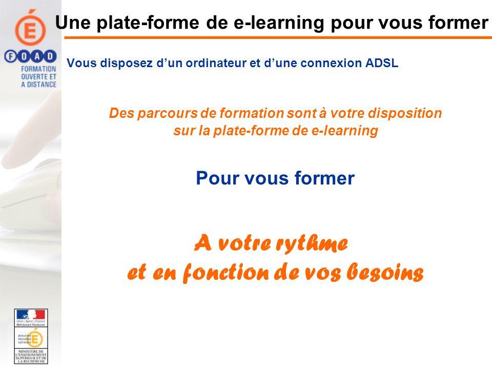 Une plate-forme de e-learning pour vous former Vous disposez dun ordinateur et dune connexion ADSL Des parcours de formation sont à votre disposition sur la plate-forme de e-learning Pour vous former A votre rythme et en fonction de vos besoins