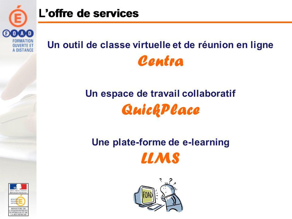 Un outil de classe virtuelle et de réunion en ligne Centra Un espace de travail collaboratif QuickPlace Une plate-forme de e-learning LLMS Loffre de services
