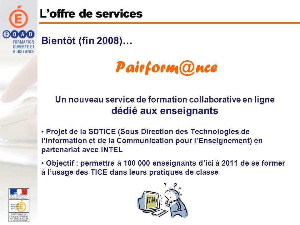 Consultation en ligne : A partir du portail Internet du site http://foad.orion.education.fr rubrique « vers loffre de services du pôle » (intranet Racine) Loffre de services