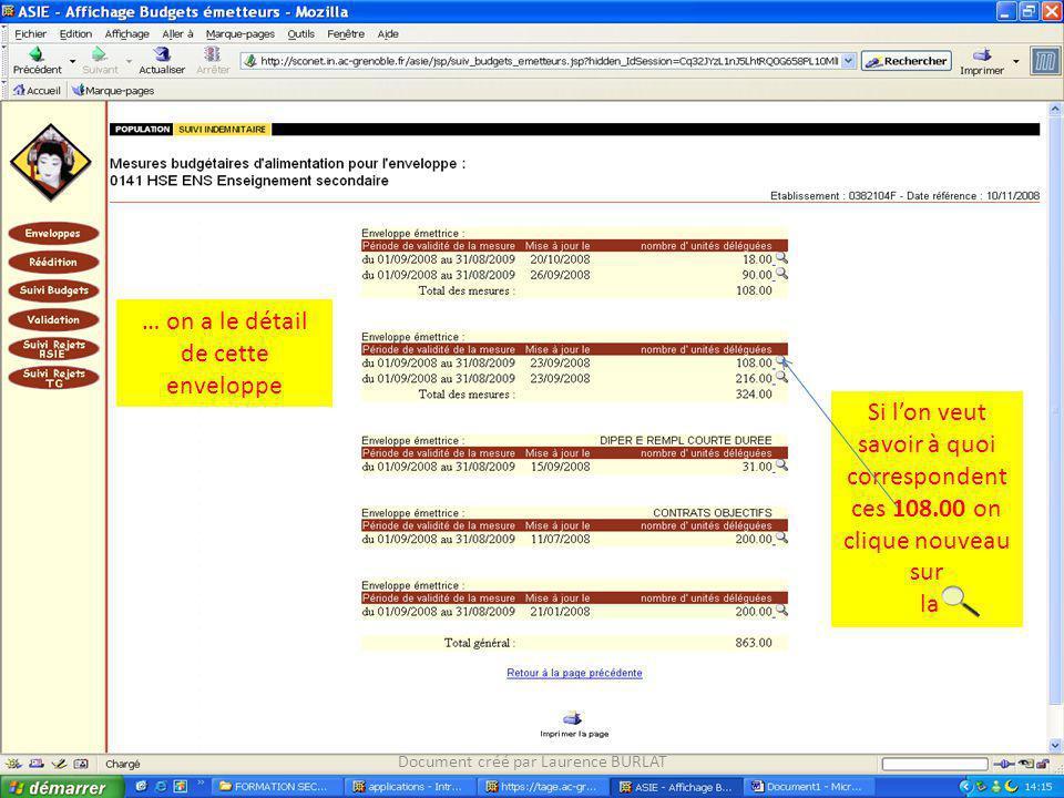 … on a le détail de cette enveloppe Si lon veut savoir à quoi correspondent ces 108.00 on clique nouveau sur la Document créé par Laurence BURLAT