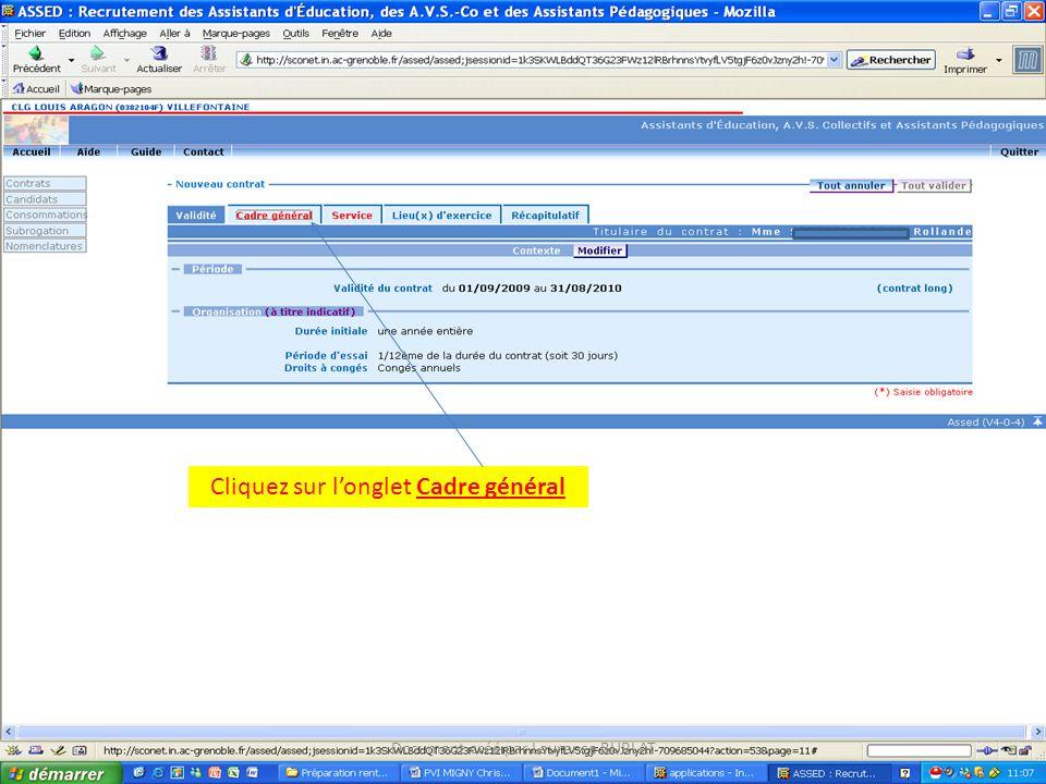 Cliquez sur longlet Cadre général Document créé par Laurence BURLAT