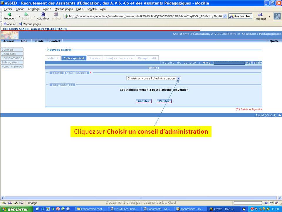Cliquez sur Choisir un conseil dadministration Document créé par Laurence BURLAT