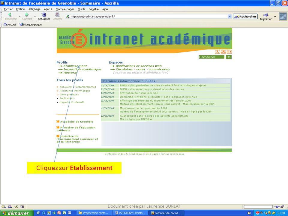 Cliquez sur Etablissement Document créé par Laurence BURLAT