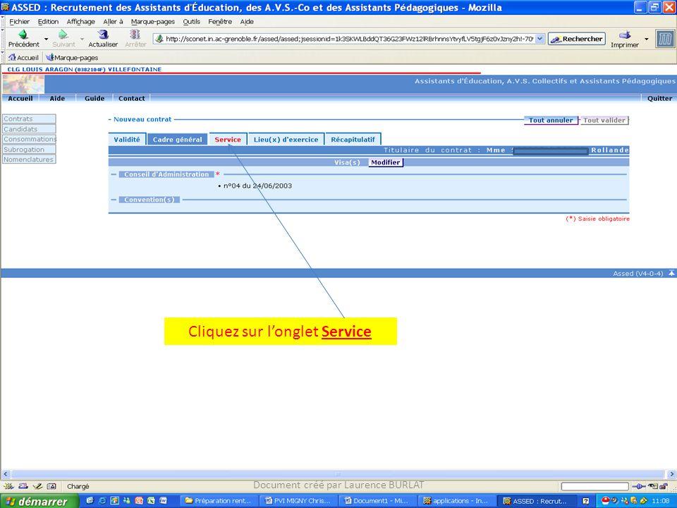 Cliquez sur longlet Service Document créé par Laurence BURLAT
