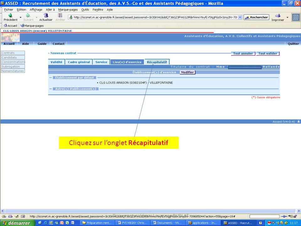 Cliquez sur longlet Récapitulatif Document créé par Laurence BURLAT