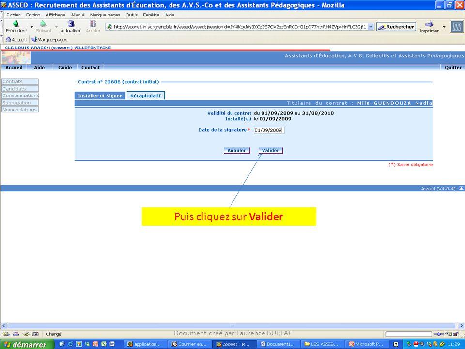 Puis cliquez sur Valider Document créé par Laurence BURLAT