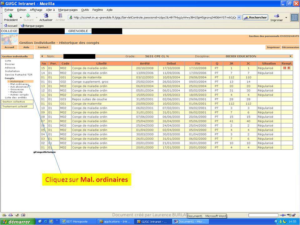 Cliquez sur Mal. ordinaires Document créé par Laurence BURLAT XXXXXXXXXXX (038xxxxX)XXXXXXXXXX XXXXXXXXXXXXXX
