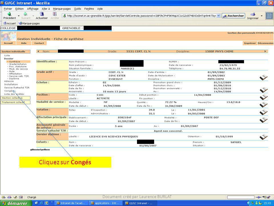 Cliquez sur Congés Document créé par Laurence BURLAT