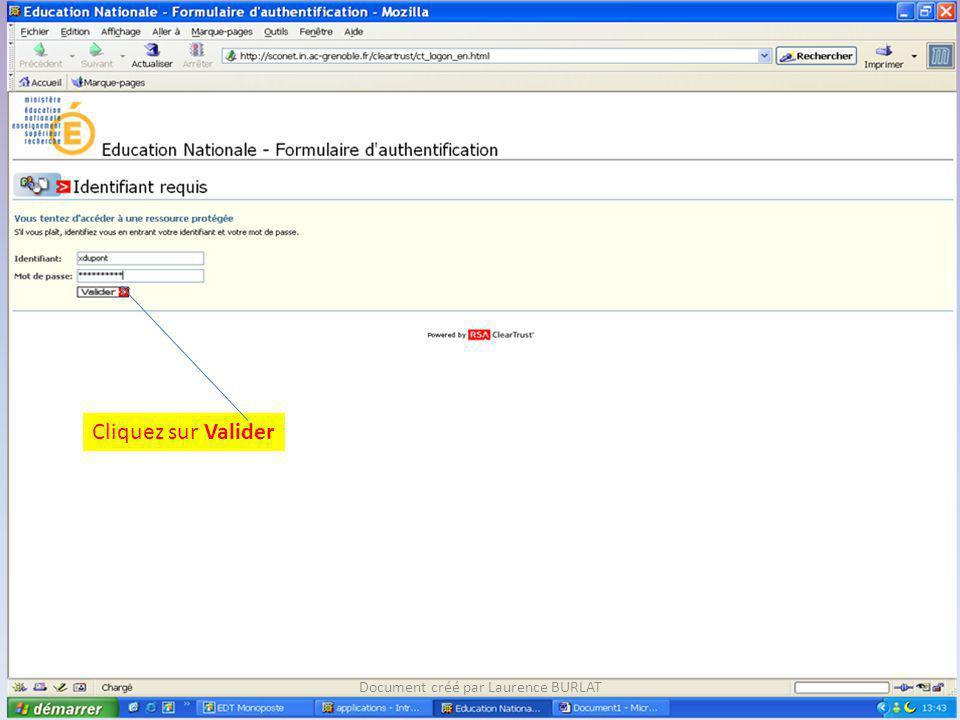 Cliquez sur Module enseignant Document créé par Laurence BURLAT