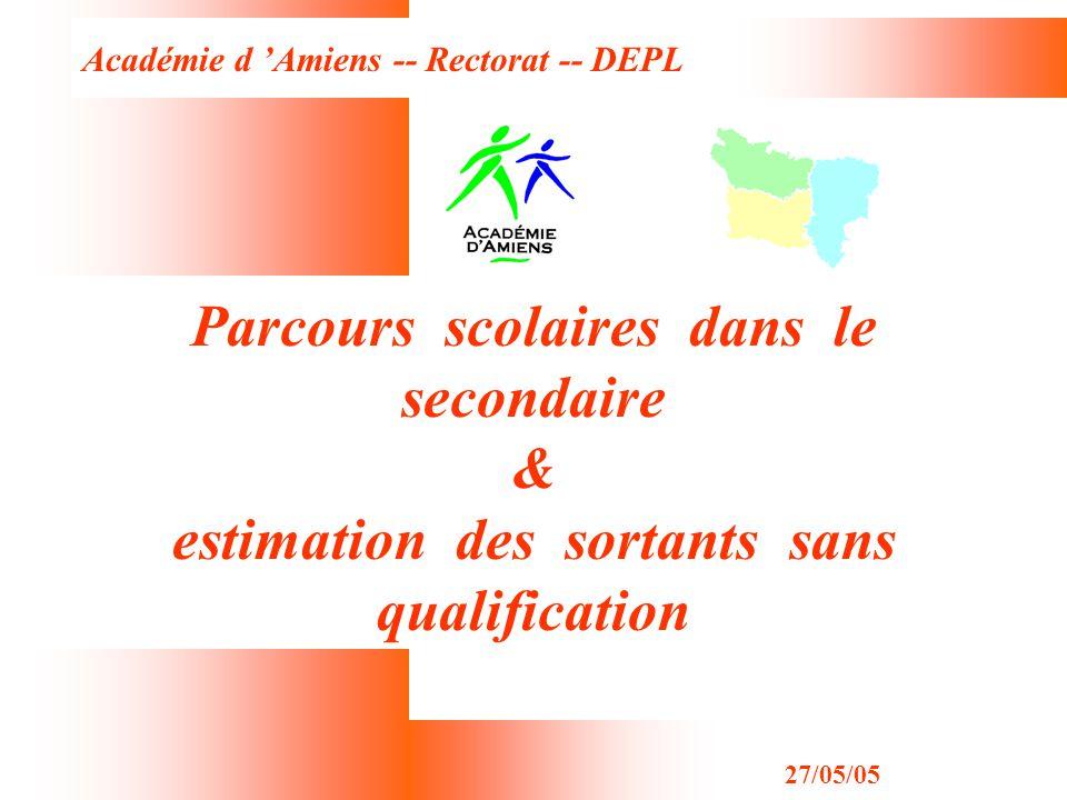 Académie d Amiens -- Rectorat -- DEPL 27/05/05 Parcours scolaires dans le secondaire & estimation des sortants sans qualification