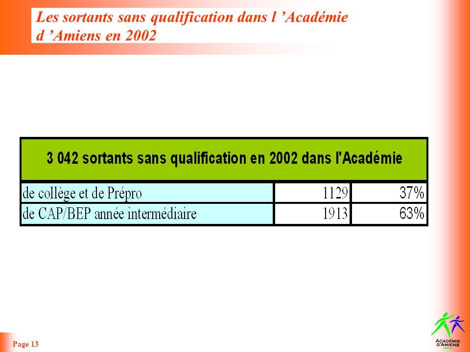 Les sortants sans qualification dans l Académie d Amiens en 2002 Page 13