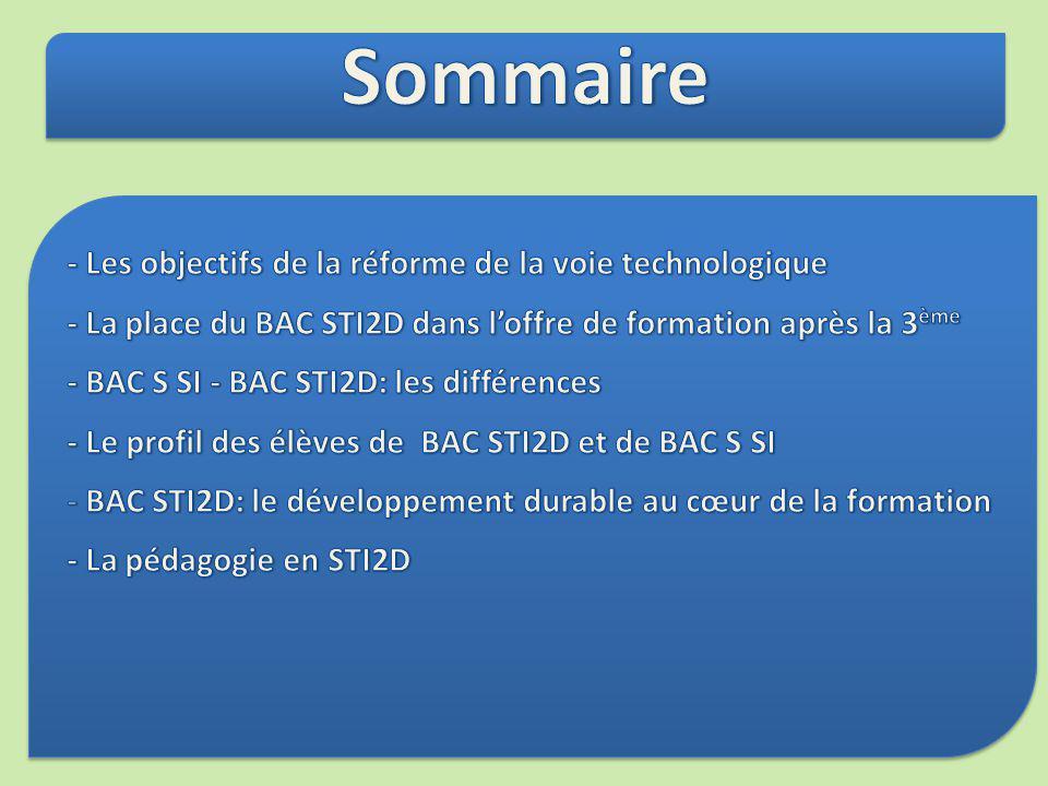 La nouvelle série STI2D Création du baccalauréat Science et Technologie de lIndustrie et du Développement Durable STI2D