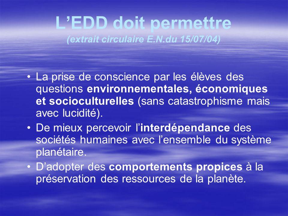LEDD doit permettre (extrait circulaire E.N.du 15/07/04) La prise de conscience par les élèves des questions environnementales, économiques et socioculturelles (sans catastrophisme mais avec lucidité).