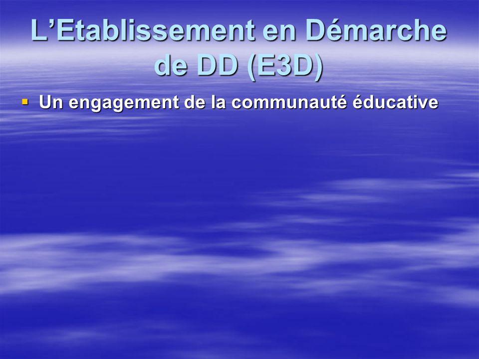 LEtablissement en Démarche de DD (E3D) Un engagement de la communauté éducative Un engagement de la communauté éducative